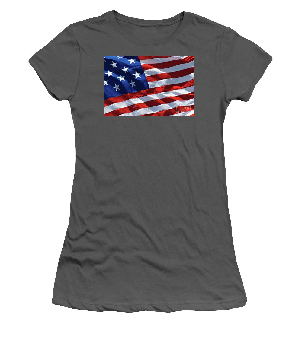 United Women's T-Shirt (Athletic Fit) featuring the photograph Star Spangled Banner - D001883 by Daniel Dempster