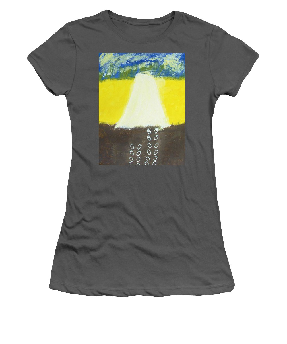 Light Women's T-Shirt (Athletic Fit) featuring the painting Stepping Into The Light by M and L Creations Craft Boutique
