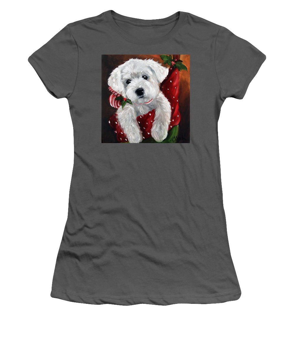 Art Women's T-Shirt (Athletic Fit) featuring the painting Stocking Stuffer by Mary Sparrow