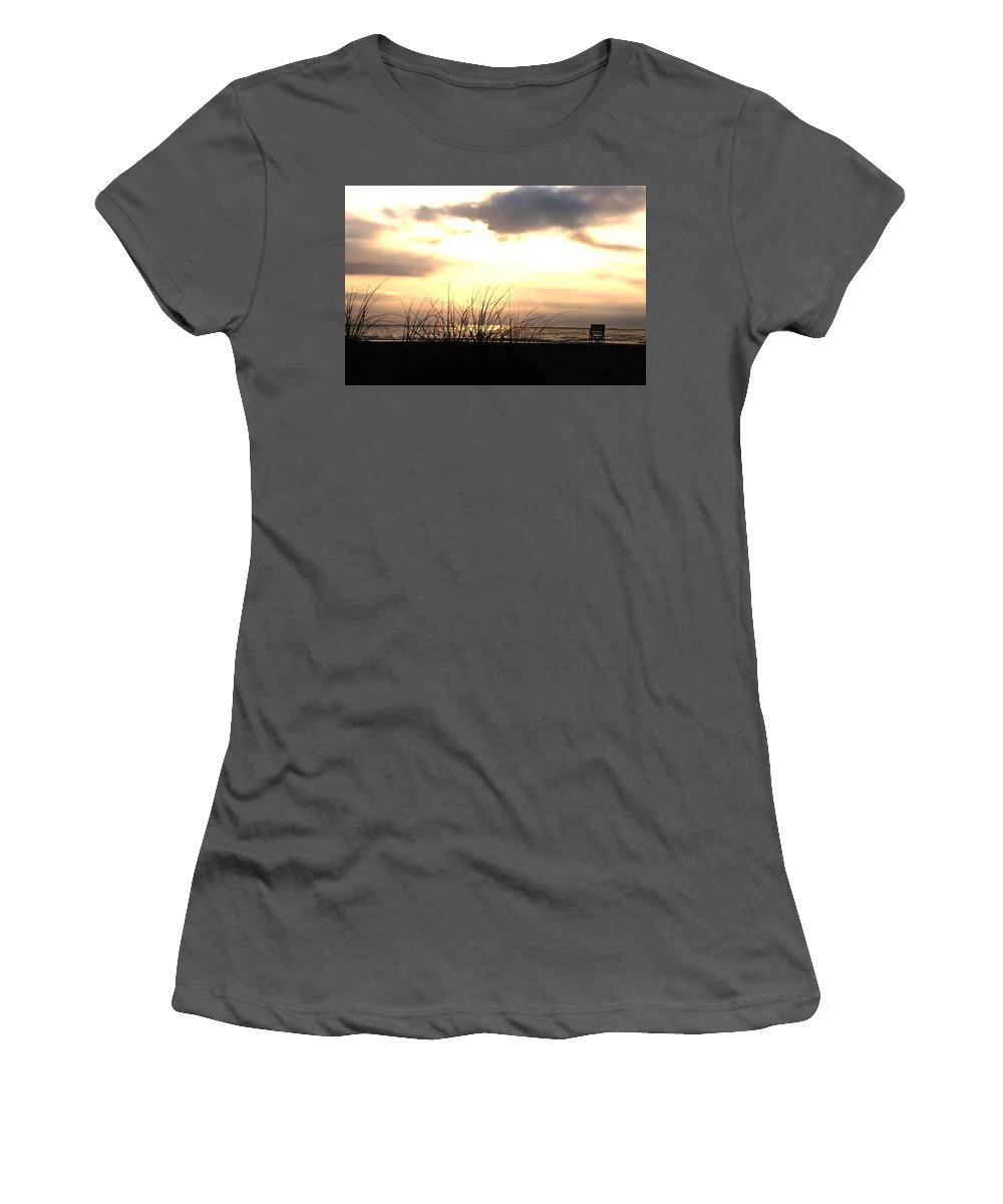 Sun Behind The Clouds On The Beach Women's T-Shirt (Athletic Fit) featuring the photograph Sun Behind The Clouds On The Beach by Bill Cannon