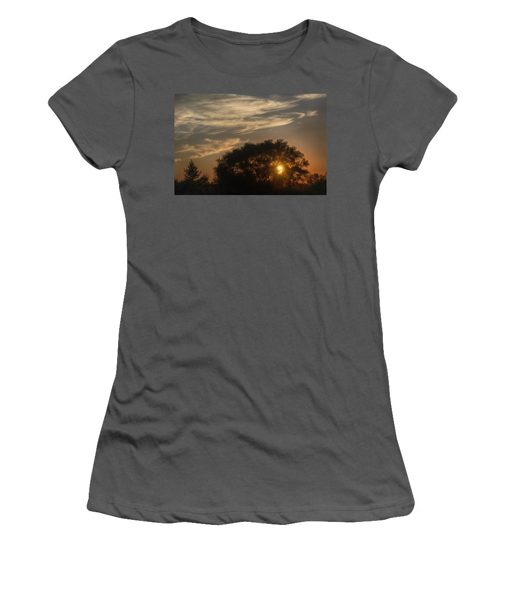 Joan Carroll Women's T-Shirt (Athletic Fit) featuring the photograph Sunset At The Oasis by Joan Carroll