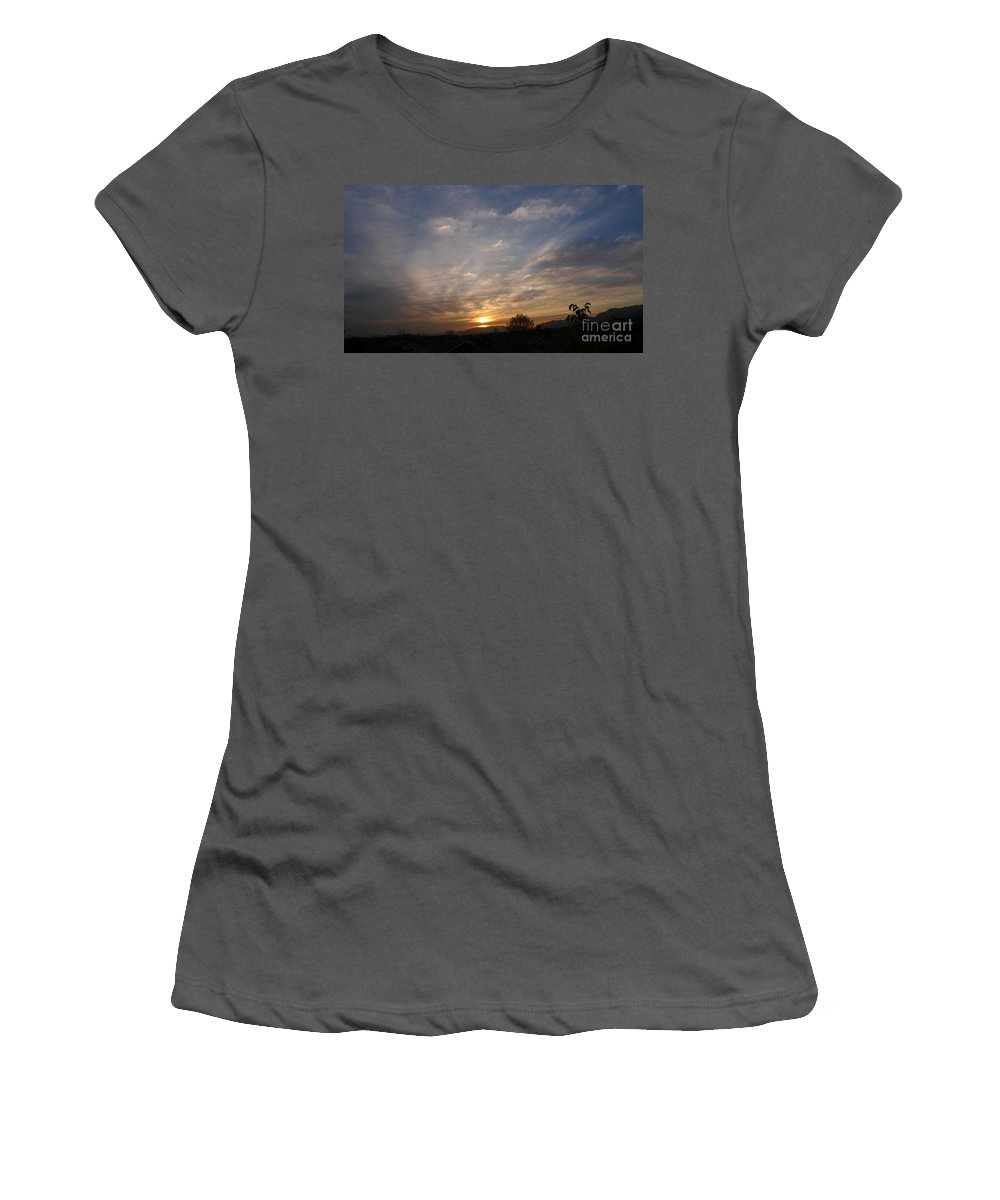 Sunset Over The San Fernando Valley In California Women's T-Shirt (Athletic Fit) featuring the photograph Sunset Over The San Fernando Valley by Nina Prommer