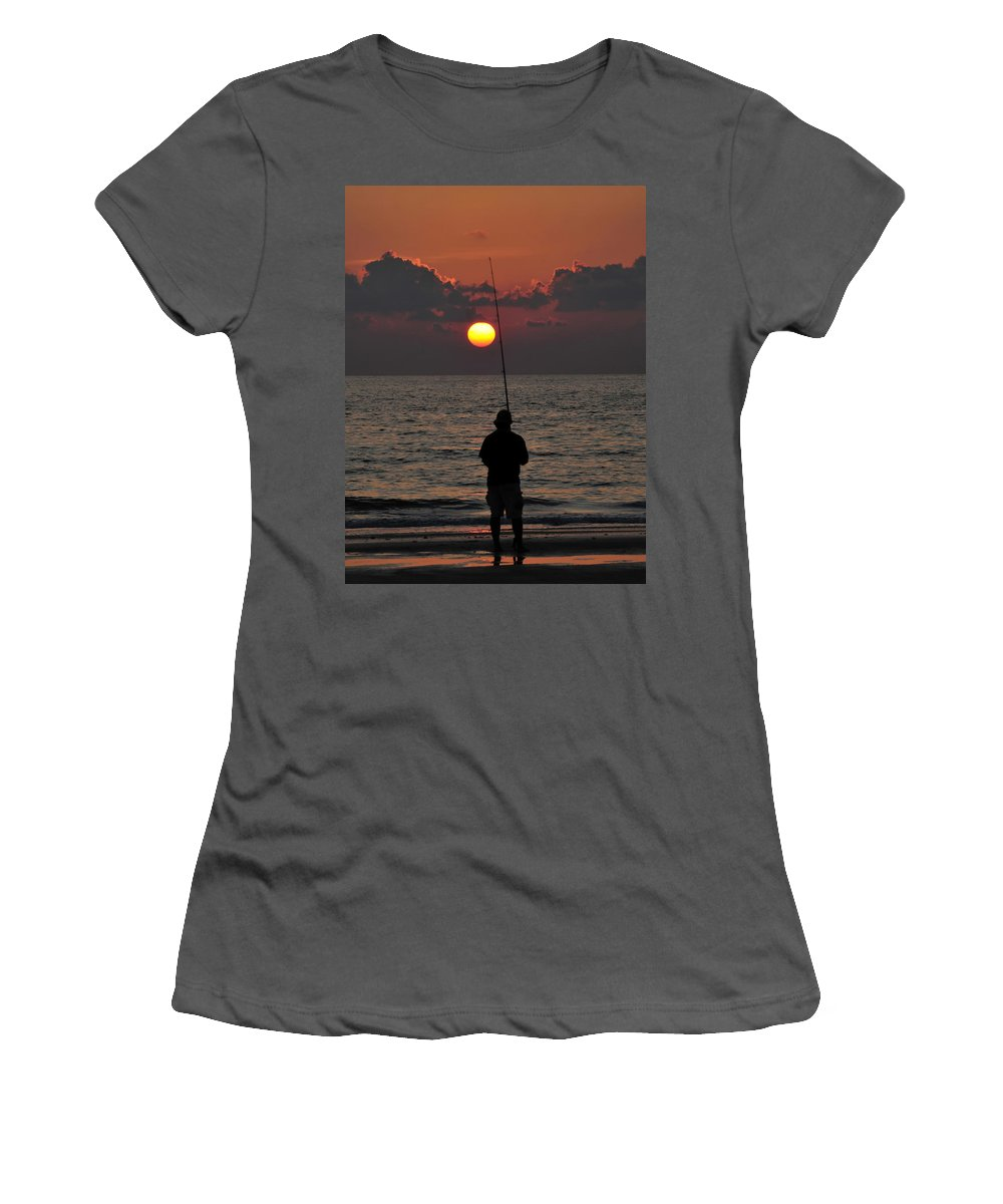 Fine Art Photography Women's T-Shirt (Athletic Fit) featuring the photograph Surf Fishing 1 by David Lee Thompson