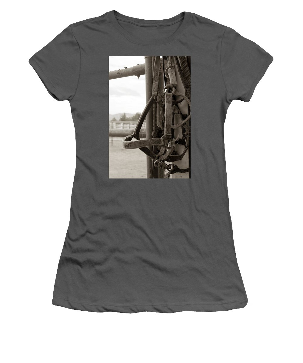 Horses Women's T-Shirt (Athletic Fit) featuring the photograph Tack by Lorraine Devon Wilke