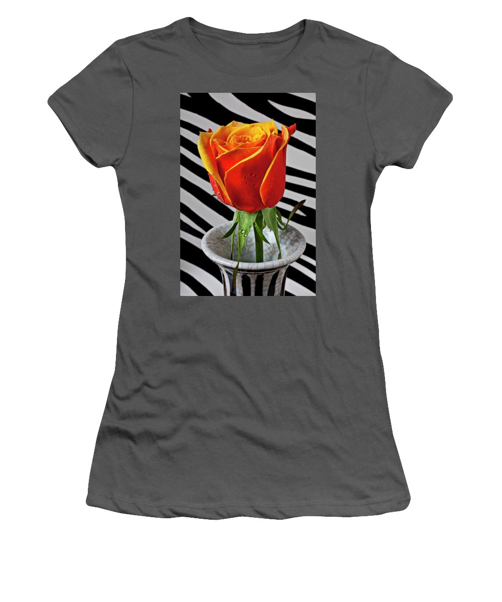 Rose Flower Vase Romance Graphic Women's T-Shirt (Athletic Fit) featuring the photograph Tea Rose In Striped Vase by Garry Gay