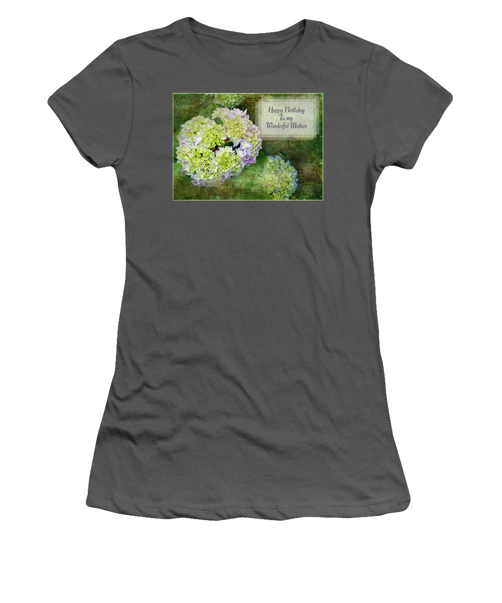 Nature Women's T-Shirt (Athletic Fit) featuring the digital art Textured Hydrangeas Birthday Mother Greeting Card by Debbie Portwood