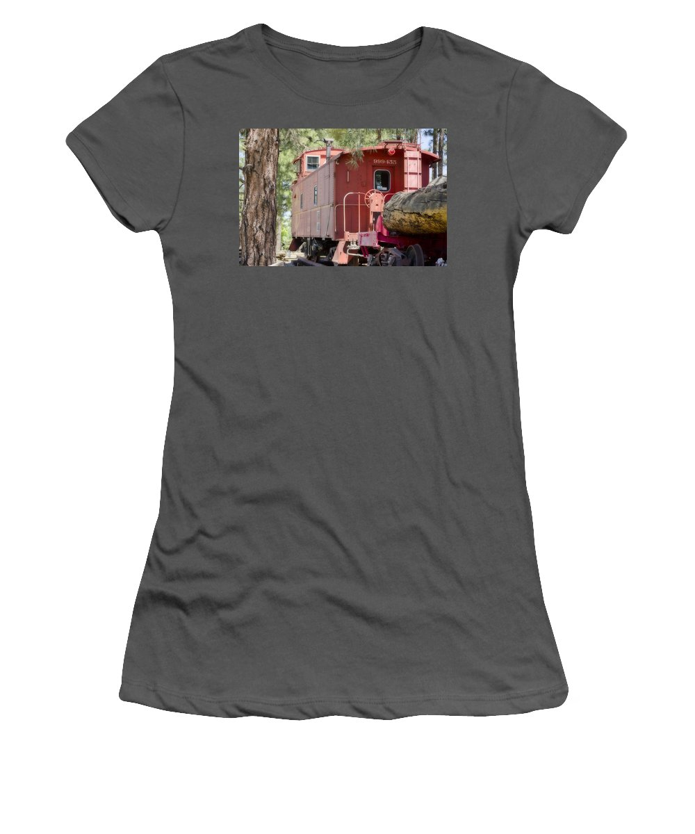 Fine Art Women's T-Shirt (Athletic Fit) featuring the photograph The Little Red Caboose by Donna Greene