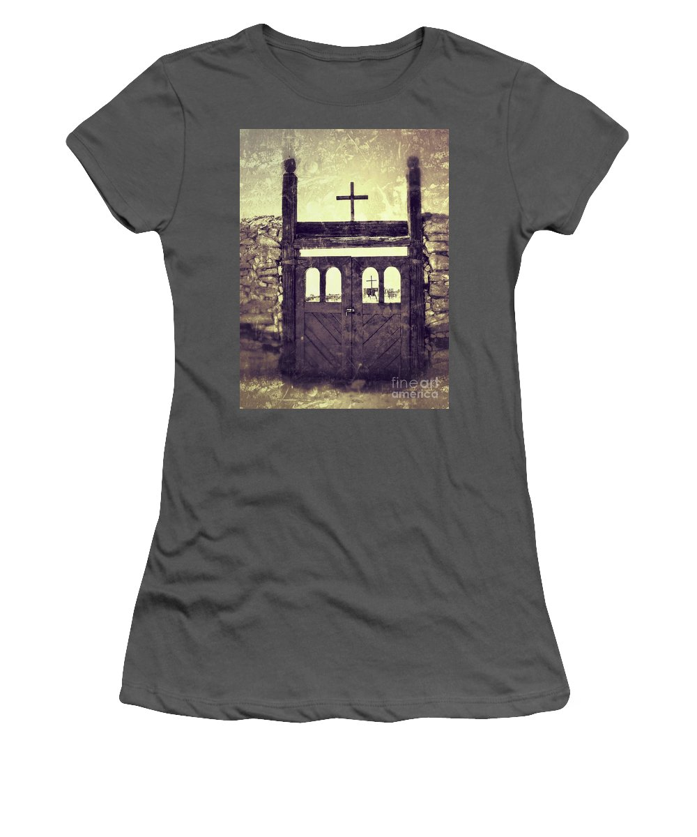 2012 Women's T-Shirt (Athletic Fit) featuring the photograph The Old Galisteo Cemetery by Matt Suess