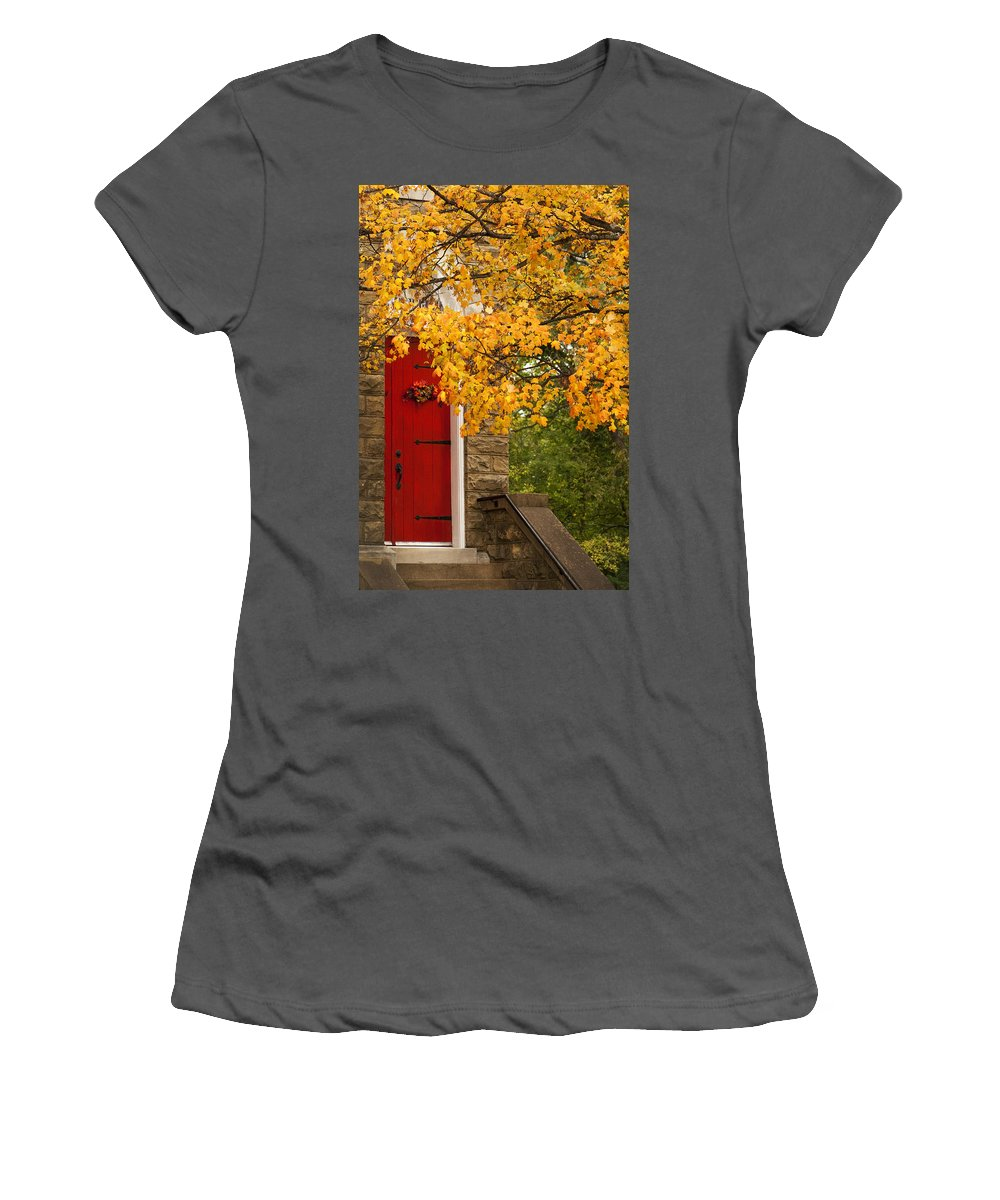 Red Women's T-Shirt (Athletic Fit) featuring the photograph The Red Door by Kathy Clark
