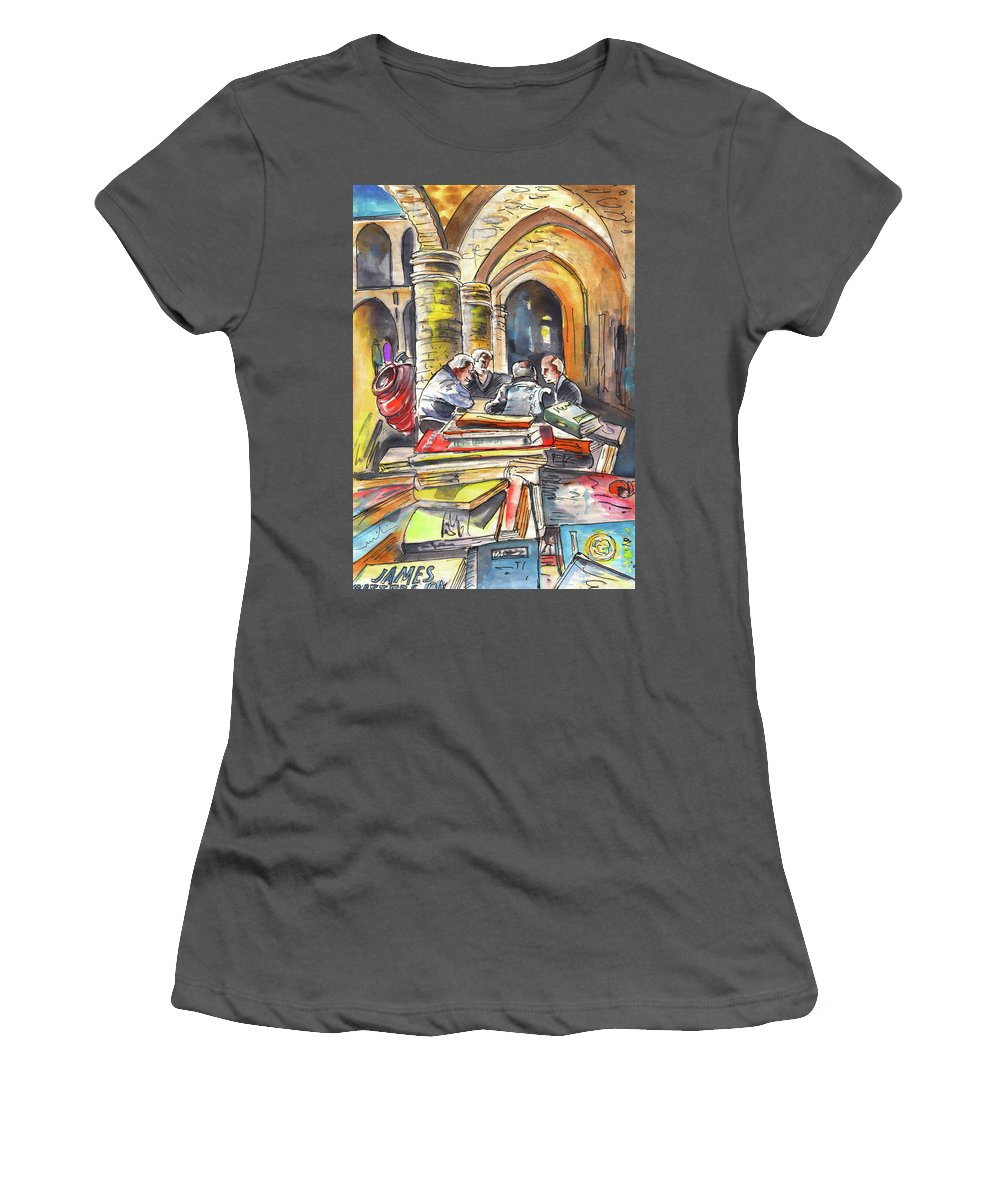 Travel Sketch Women's T-Shirt (Athletic Fit) featuring the painting Together Old In Cyprus 01 by Miki De Goodaboom