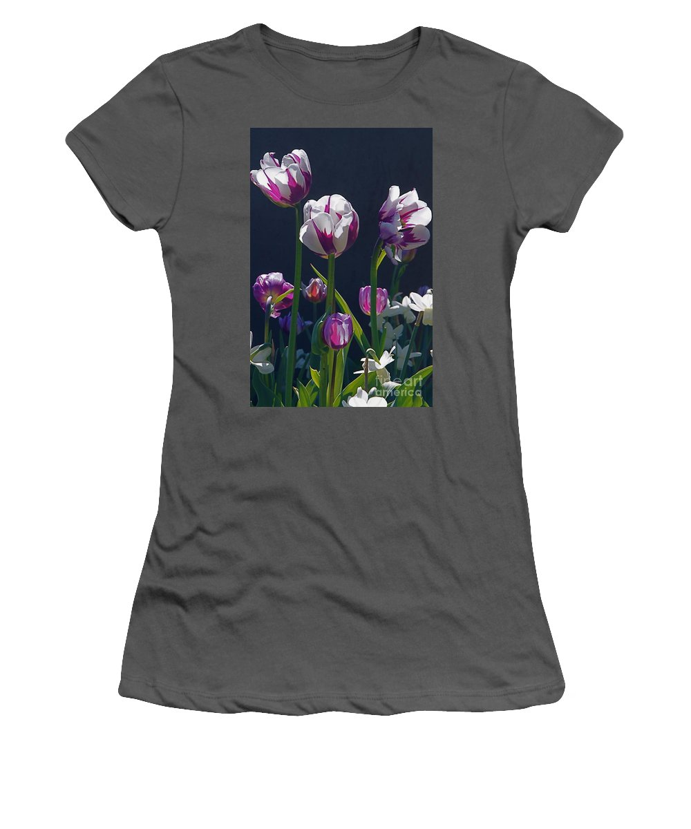Tulip Women's T-Shirt (Athletic Fit) featuring the photograph Tulip Springtime Memories by Byron Varvarigos
