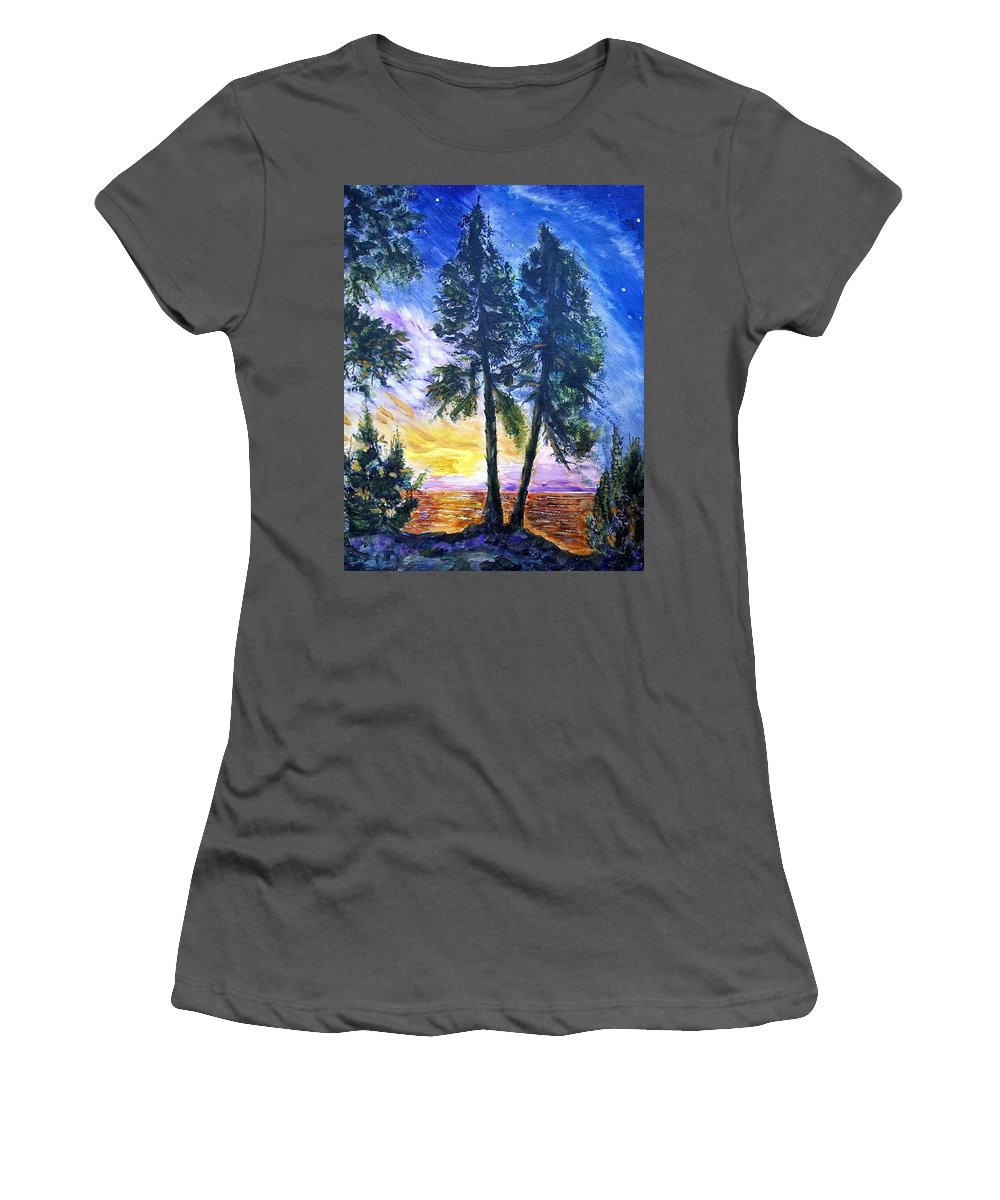 Landscape Women's T-Shirt (Athletic Fit) featuring the painting Twins by Robert Gross