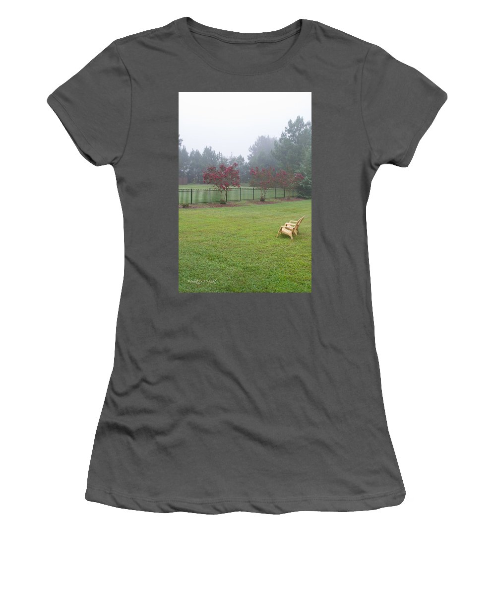 Nature Women's T-Shirt (Athletic Fit) featuring the photograph Two Yellow Chairs 2 by Paulette B Wright