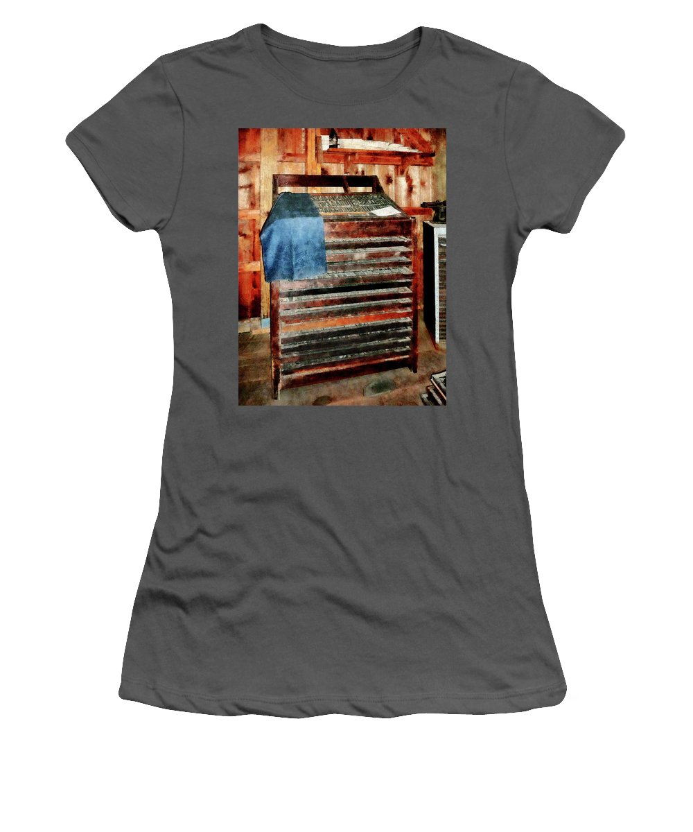Type Case Women's T-Shirt (Athletic Fit) featuring the photograph Type Case With Denim Apron by Susan Savad