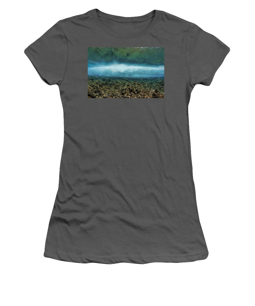 Blue Women's T-Shirt (Athletic Fit) featuring the photograph Under An Ocean Wave by Dave Fleetham