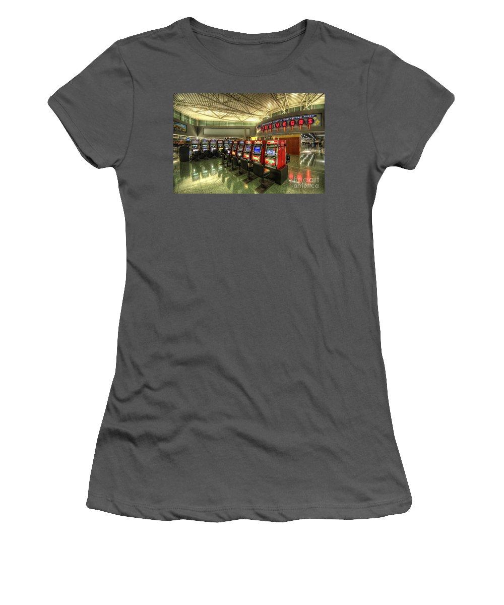 Yhun Suarez Women's T-Shirt (Athletic Fit) featuring the photograph Vegas Airport 2.0 by Yhun Suarez