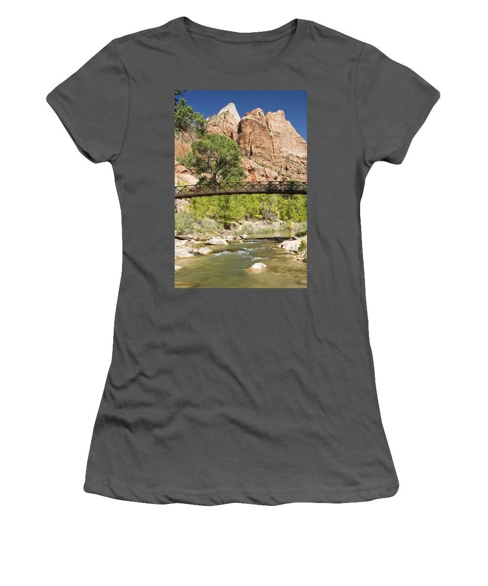 Across Women's T-Shirt (Athletic Fit) featuring the photograph Virgin River And Bridge by Gloria & Richard Maschmeyer