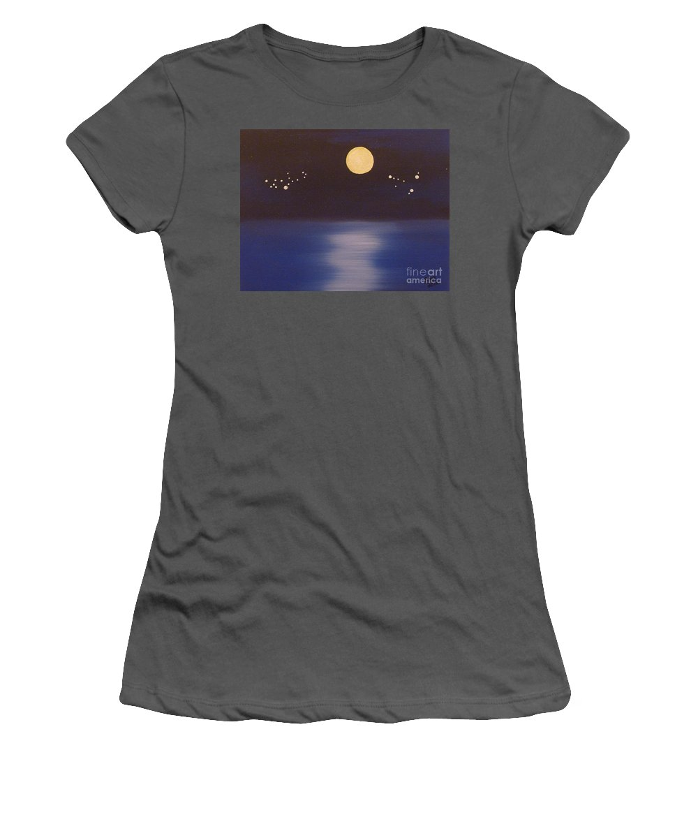 Stars Women's T-Shirt (Athletic Fit) featuring the painting Virgo And Capricorn by Alys Caviness-Gober
