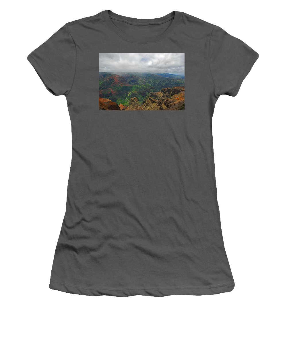Kauai Women's T-Shirt (Athletic Fit) featuring the photograph Waimea Canyon Weather by Lynn Bauer
