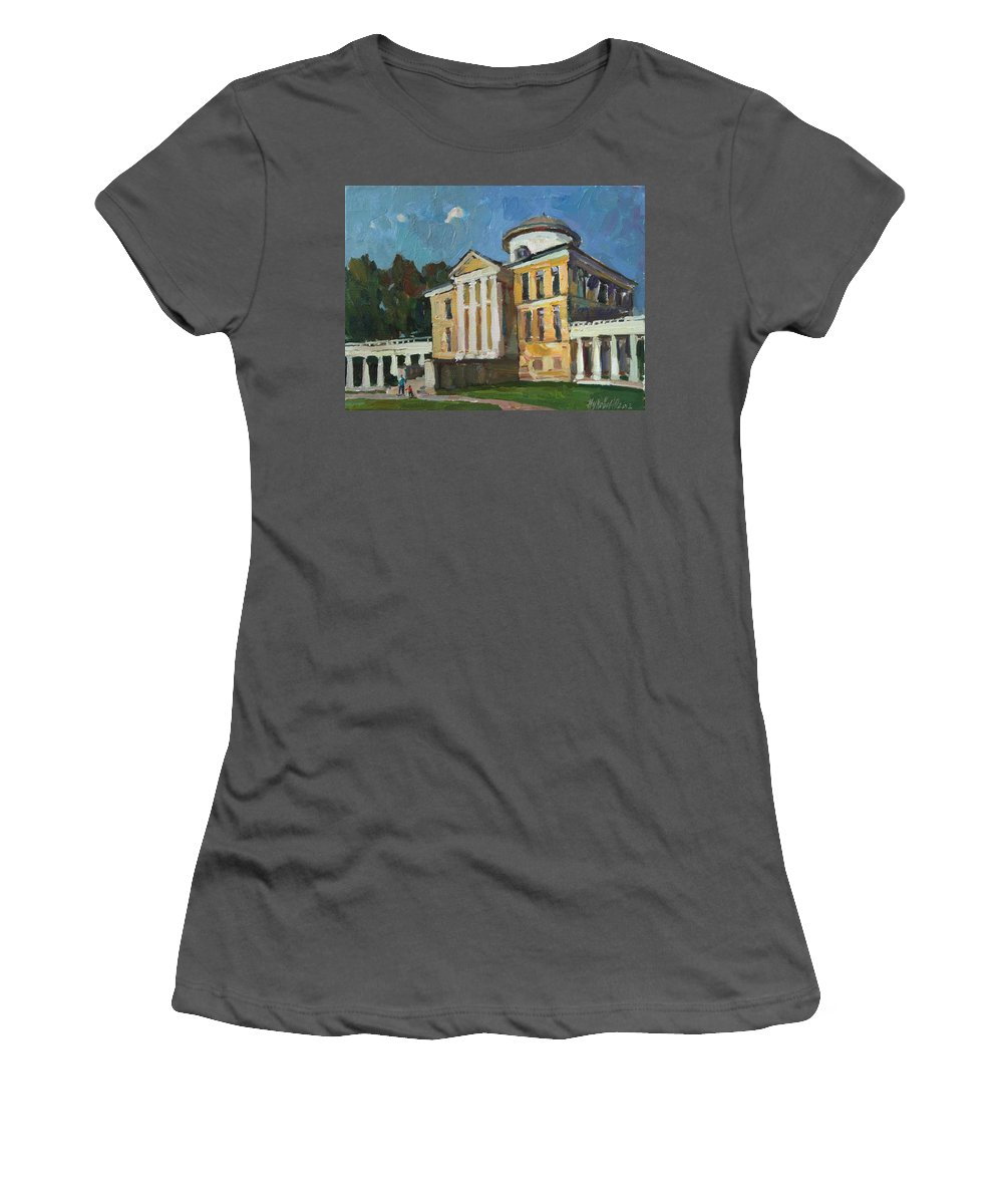 Manor Women's T-Shirt (Athletic Fit) featuring the painting Walk In The Old Manor by Juliya Zhukova