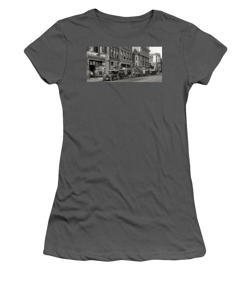 Washington Dc 1920 Vintage Photograph Black White Bw Street City Old Cars Shop Women's T-Shirt (Athletic Fit) featuring the photograph Walking Through The Time by Steve K