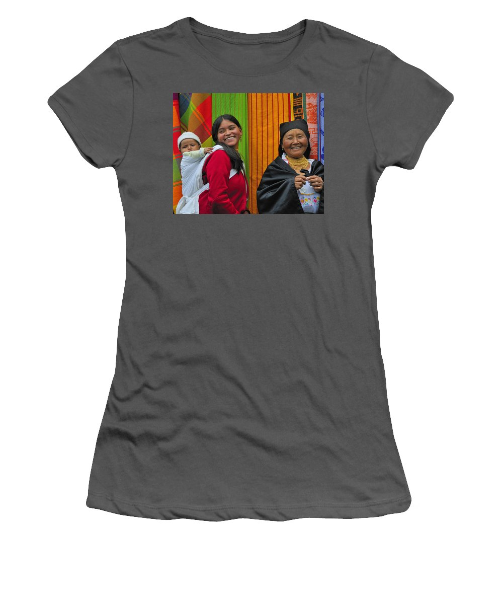Otavalo Women's T-Shirt (Athletic Fit) featuring the photograph Wandering Through The Market by Tony Beck