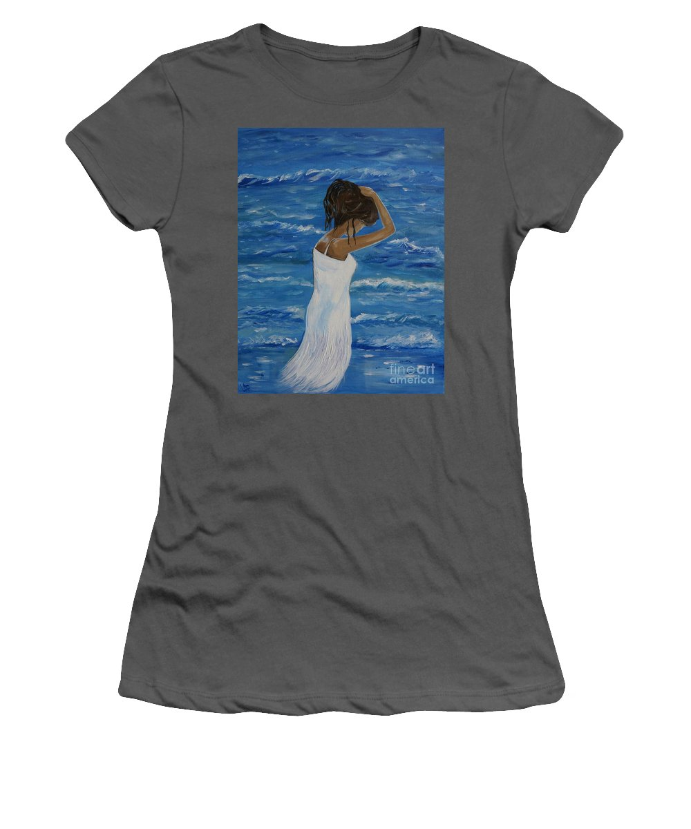Woman Women's T-Shirt (Athletic Fit) featuring the painting Waves Of Beauty by Leslie Allen