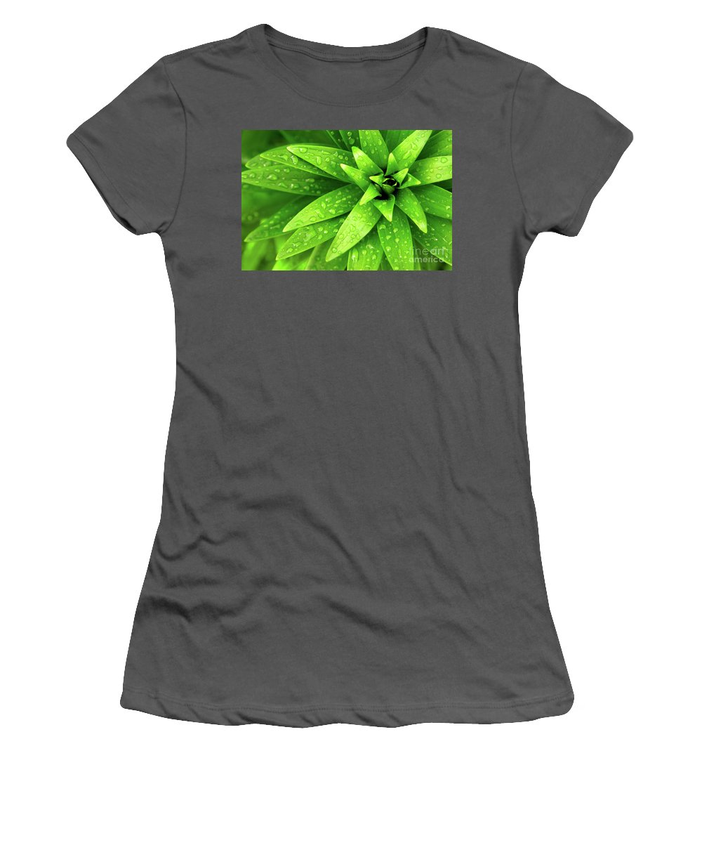 Blades Women's T-Shirt (Athletic Fit) featuring the photograph Wet Foliage by Carlos Caetano