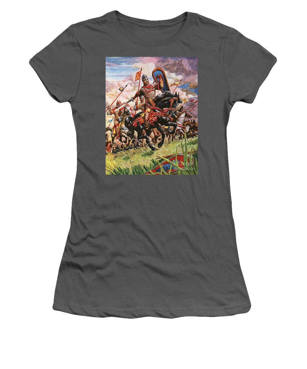William The Conqueror; King William I; 1066; Normans; Armour; Knights; Invasion; Duke William; England; Battle Of Hastings; Hastings Women's T-Shirt (Athletic Fit) featuring the painting William The Conqueror At The Battle Of Hastings by Peter Jackson