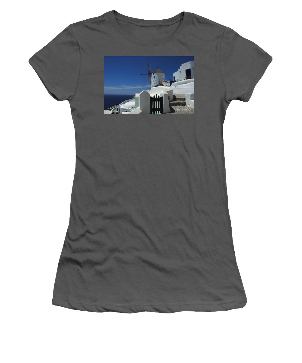 Greece Women's T-Shirt (Athletic Fit) featuring the photograph Windmill Greek Islands by Bob Christopher