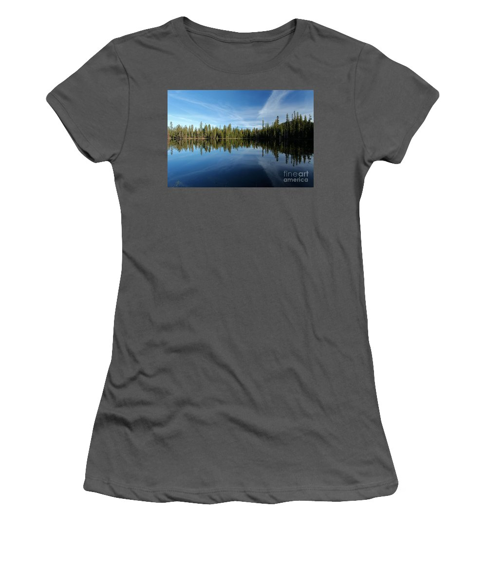 Summit Lake Women's T-Shirt (Athletic Fit) featuring the photograph Wings In The Lake by Adam Jewell