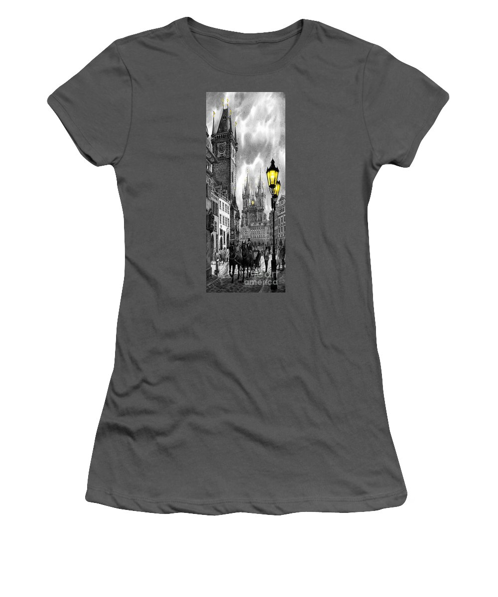 Geelee.watercolour Paper Women's T-Shirt (Athletic Fit) featuring the painting Bw Prague Old Town Squere by Yuriy Shevchuk