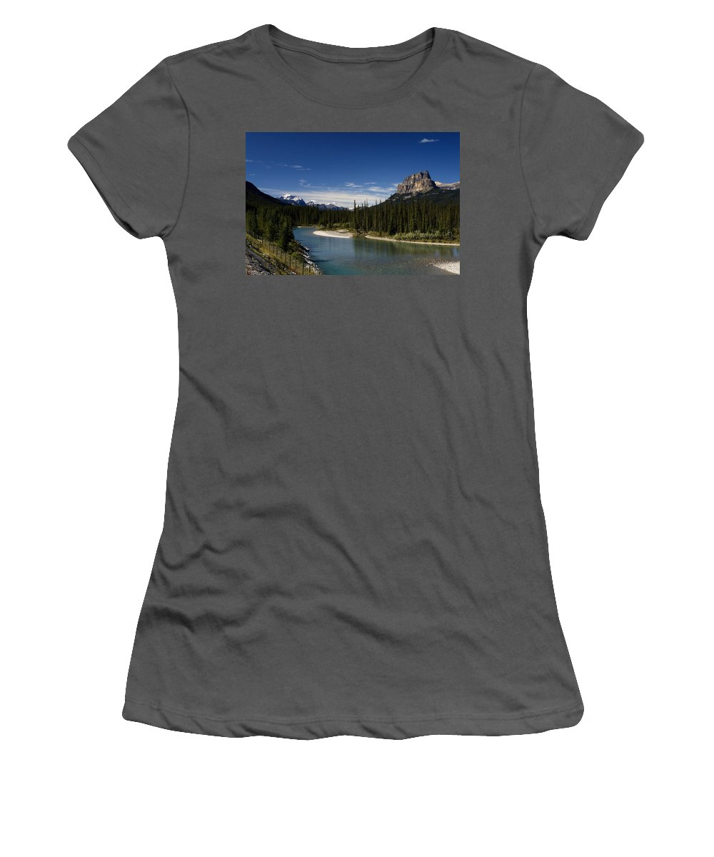 Castle Women's T-Shirt (Athletic Fit) featuring the photograph Castle Mountain 1 by Monte Arnold