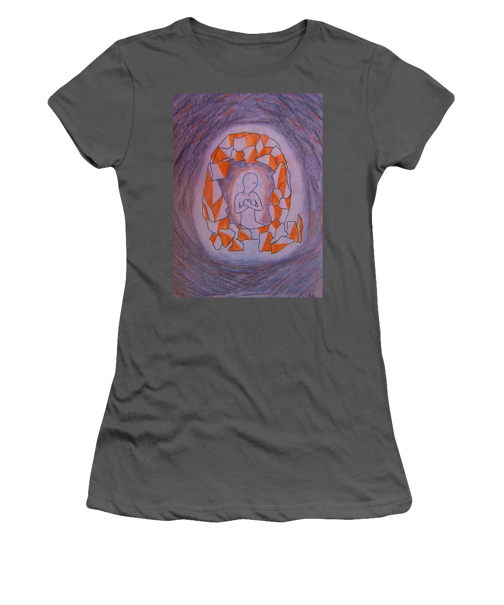 Abuse Women's T-Shirt (Athletic Fit) featuring the drawing Exposed by Deahn   Benware