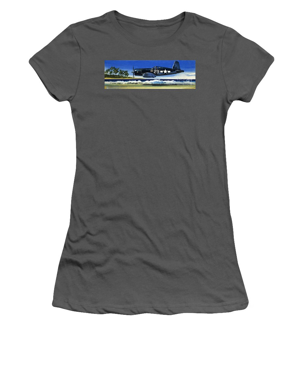 Aircraft; Aeroplane; Plane; Flying; Chance Vought F4u-1a Corsair Women's T-Shirt (Athletic Fit) featuring the painting Into The Blue American War Planes by Wilf Hardy