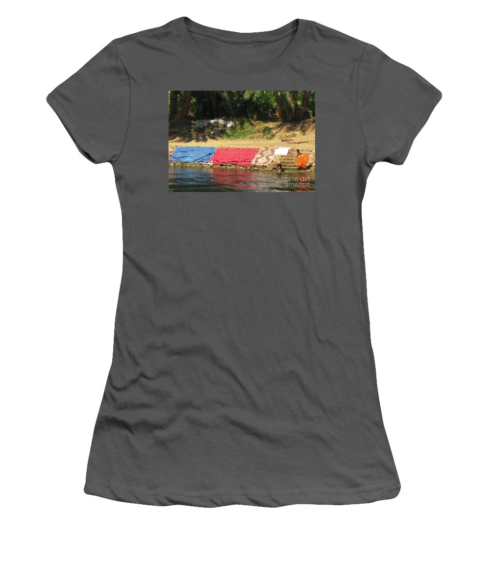 Nile River Women's T-Shirt (Athletic Fit) featuring the painting Laundry Matt On The Nile by John Malone