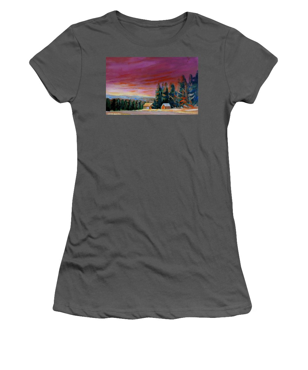 Lovely Sweeping Skies Women's T-Shirt (Athletic Fit) featuring the painting Lovely Sweeping Skies by Carole Spandau