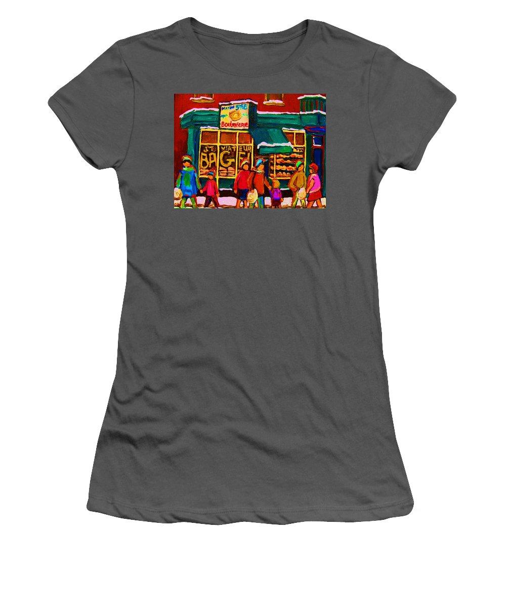 St. Viateur Bagel Women's T-Shirt (Athletic Fit) featuring the painting St. Viateur Bagel Family Bakery by Carole Spandau