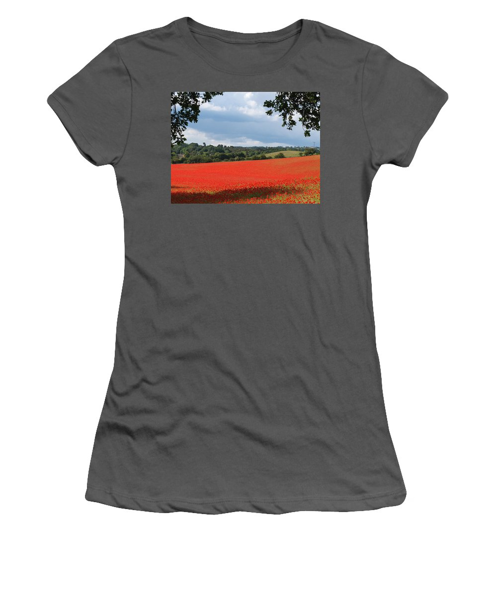 Poppies Women's T-Shirt (Athletic Fit) featuring the photograph A Field Of Red Poppies by Bob Kemp
