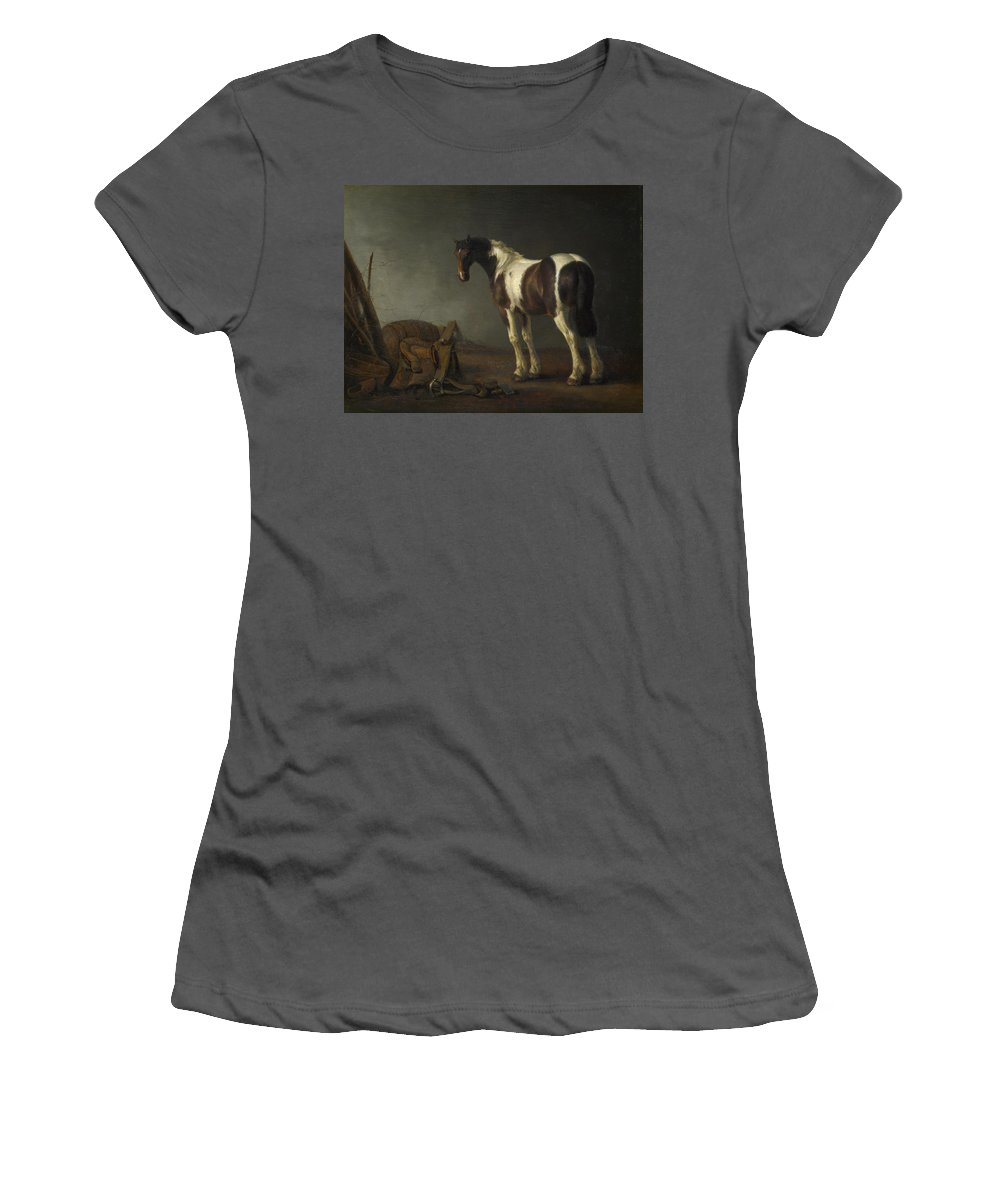 Abraham Women's T-Shirt (Athletic Fit) featuring the digital art A Horse With A Saddle Beside It by PixBreak Art