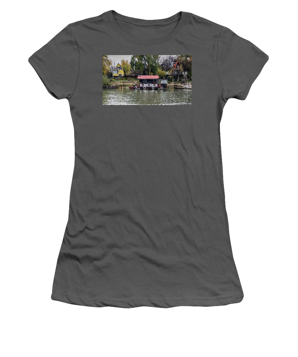 Raft Women's T-Shirt (Athletic Fit) featuring the photograph A Raft House Moored To The Shoreline Of Ada Medjica Islet by Bratislav Stefanovic