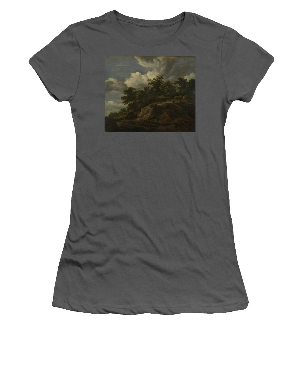 Jacob Women's T-Shirt (Athletic Fit) featuring the digital art A Rocky Hill With Three Cottages A Stream At Its Foot by PixBreak Art