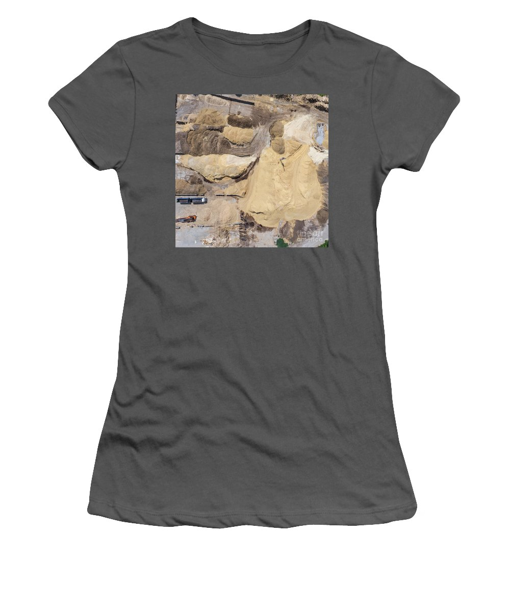 Above Women's T-Shirt (Athletic Fit) featuring the photograph Aerial View Over The Sandpit. Industrial Place In Poland. by Mariusz Prusaczyk