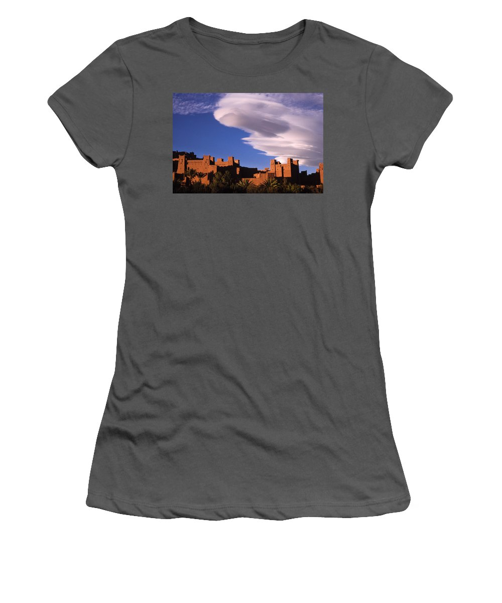 North Africa Women's T-Shirt (Athletic Fit) featuring the photograph Ait Benhaddou Casbah by Michele Burgess