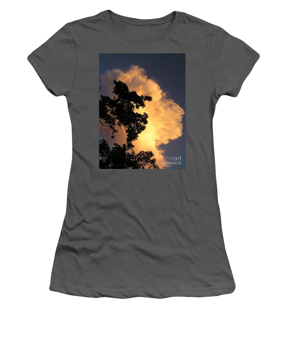 Clouds Women's T-Shirt (Athletic Fit) featuring the photograph August Thunder by Maria Bonnier-Perez