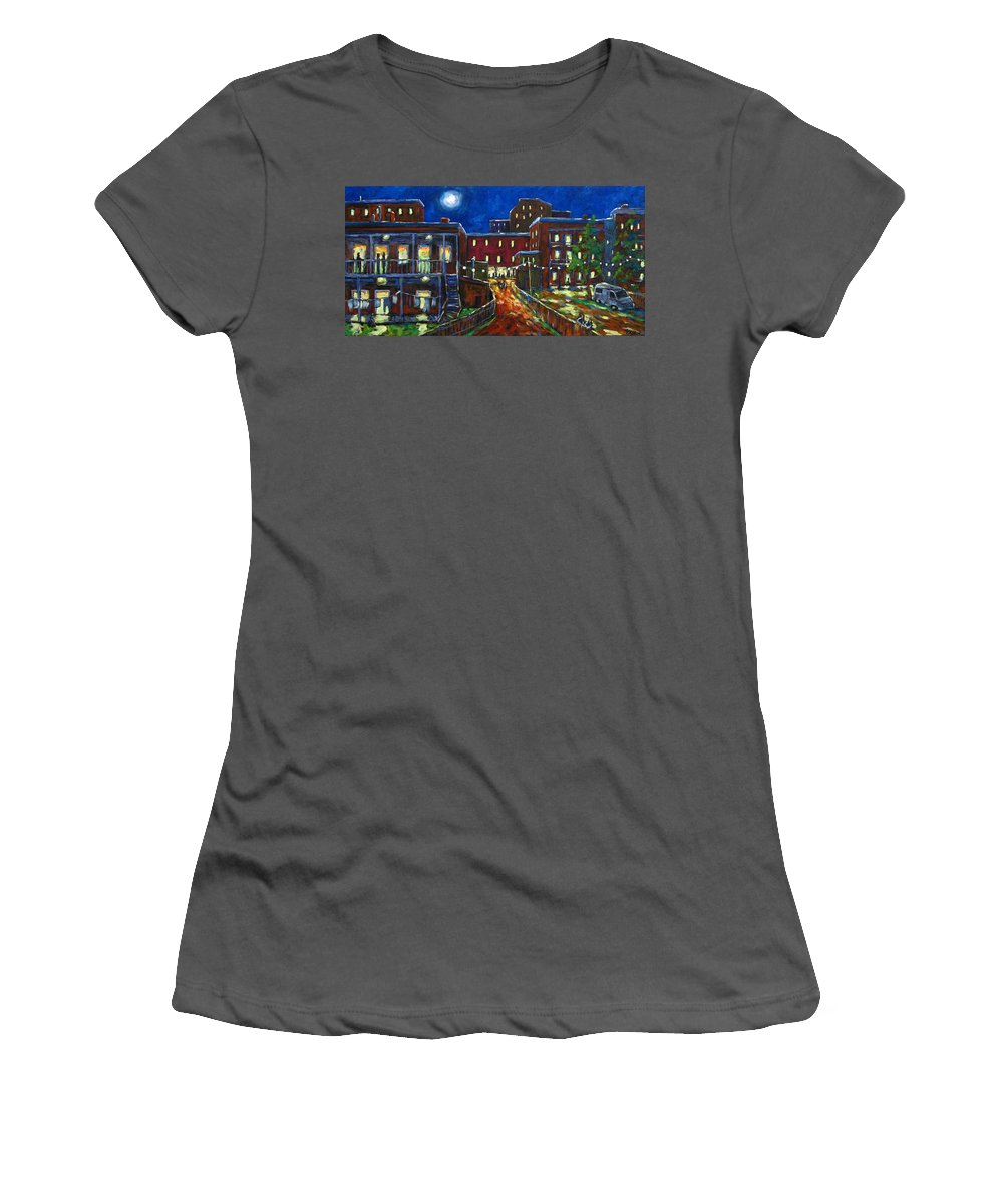 Town Women's T-Shirt (Athletic Fit) featuring the painting Balconville by Richard T Pranke