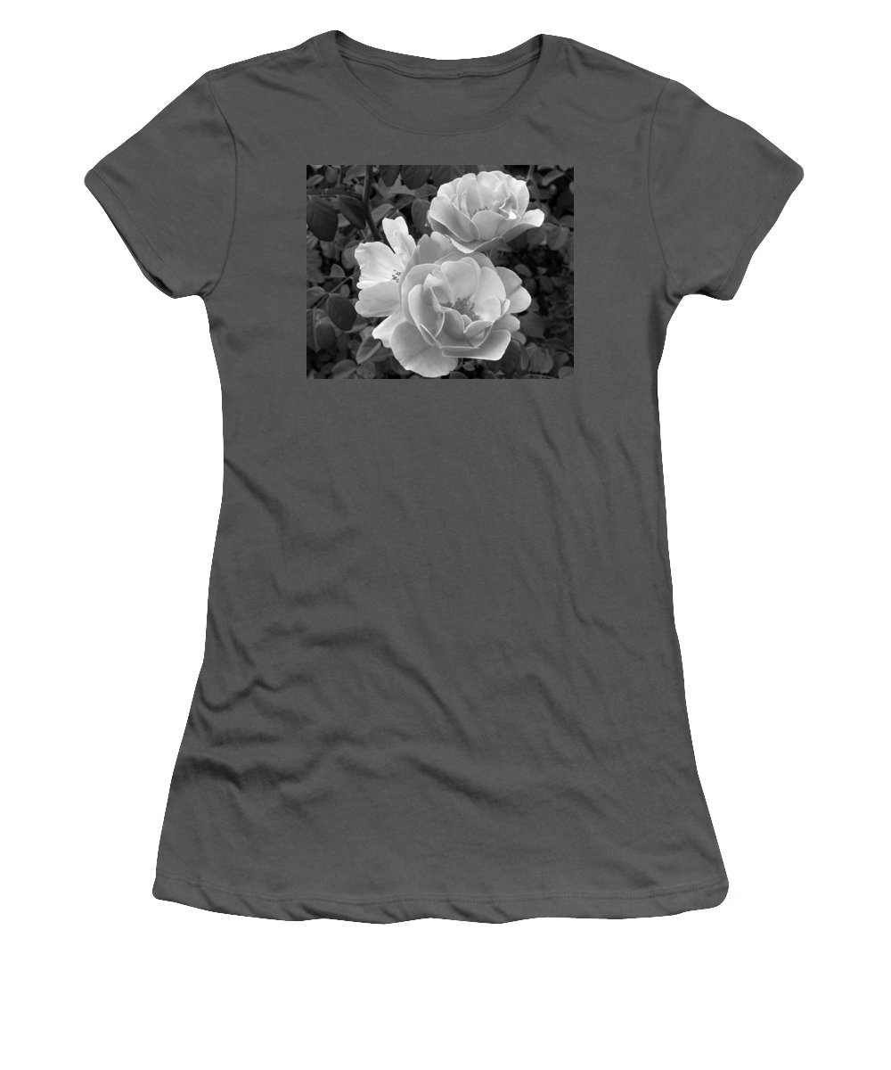 Rose Women's T-Shirt (Athletic Fit) featuring the photograph Black And White Roses 2 by Amy Fose