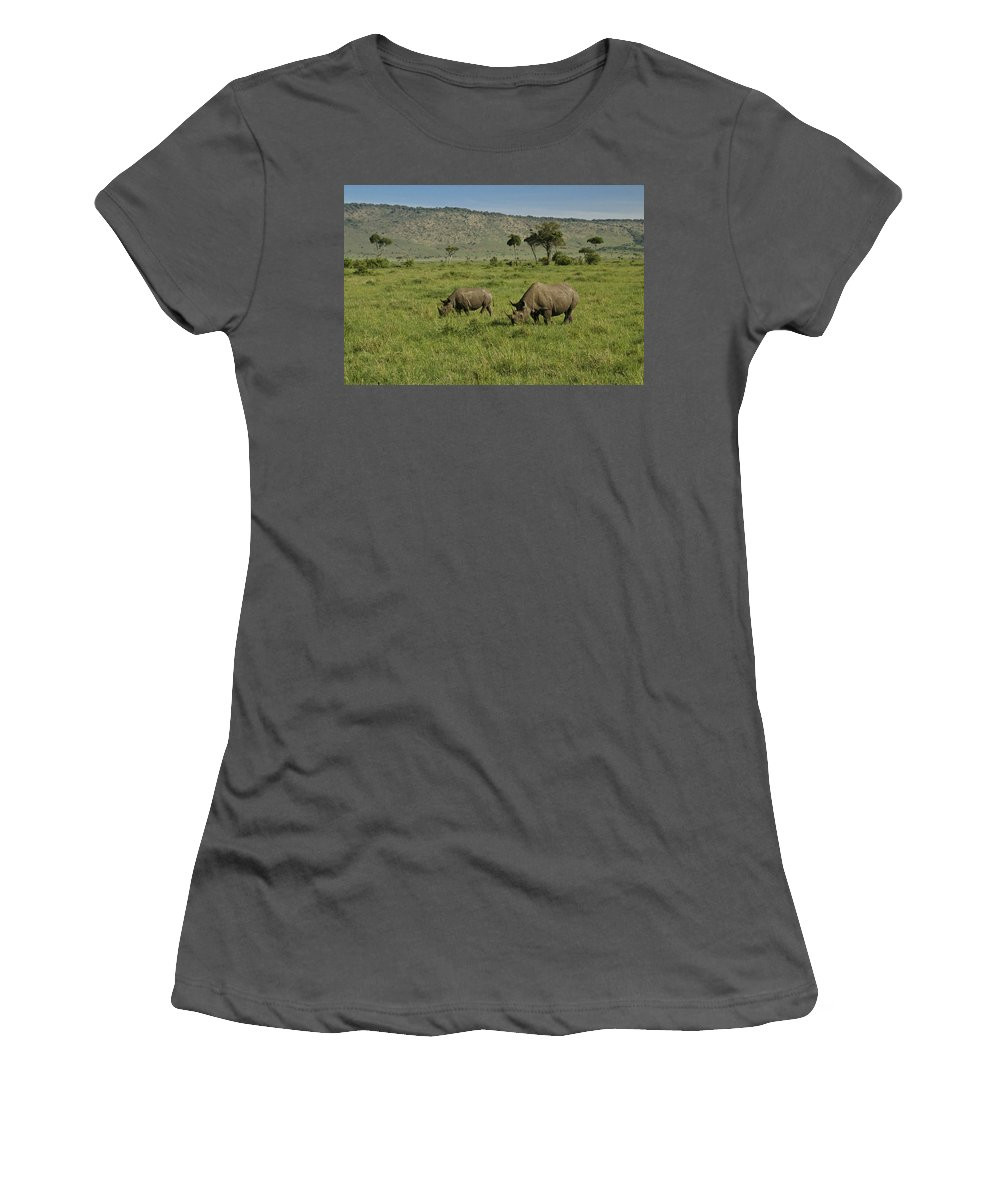 Africa Women's T-Shirt (Athletic Fit) featuring the photograph Black Rhinos by Michele Burgess