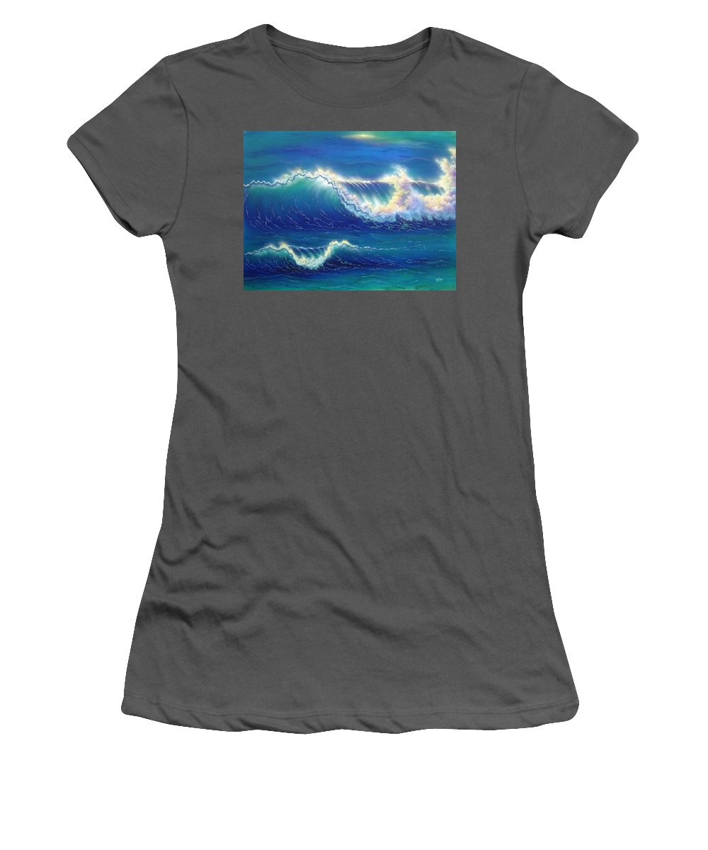 Blue Women's T-Shirt (Athletic Fit) featuring the painting Blue Thunder by Angie Hamlin