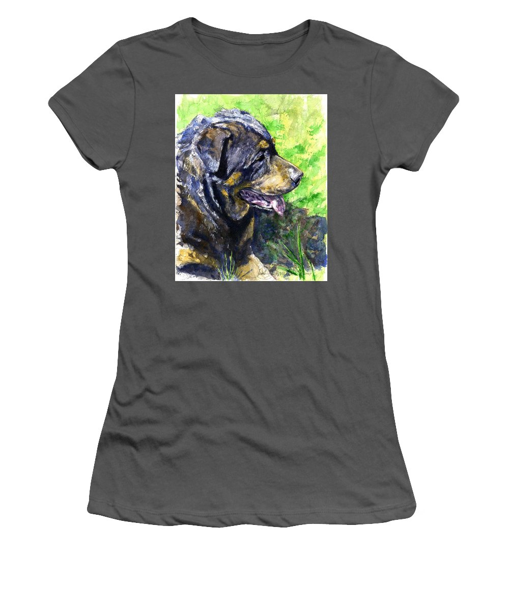 Rottweiler Women's T-Shirt (Athletic Fit) featuring the painting Chaos by John D Benson